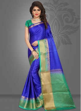 Blue and Sea Green Contemporary Style Saree For Ceremonial