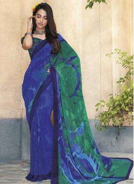 Blue and Sea Green Digital Print Work Trendy Classic Saree