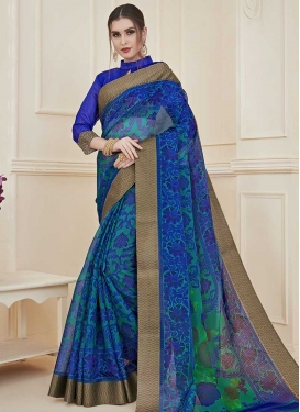 Blue and Sea Green Print Work Designer Contemporary Saree