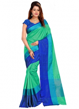 Blue and Sea Green Print Work Traditional Saree