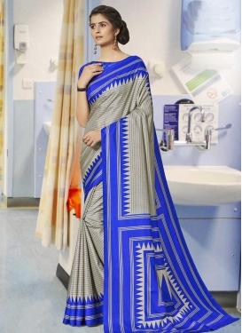 Blue and Silver Color Print Work Designer Contemporary Saree