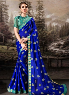 Blue and Teal Lace Work Trendy Classic Saree
