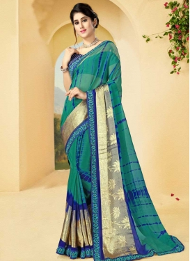 Blue and Teal Satin Georgette Traditional Saree