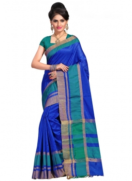 Blue and Teal Trendy Saree For Ceremonial