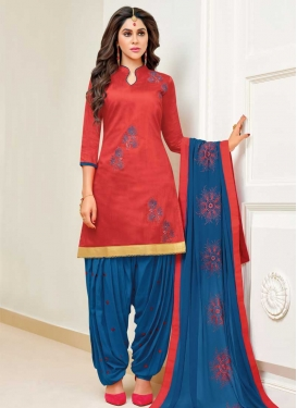 Blue and Tomato Cotton Trendy Patiala Salwar Kameez