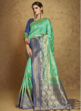 Blue and Turquoise Banarasi Silk Trendy Classic Saree