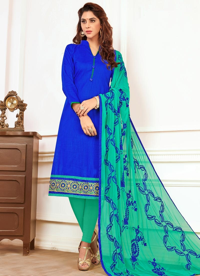 Blue and Turquoise Cotton Churidar Salwar Suit