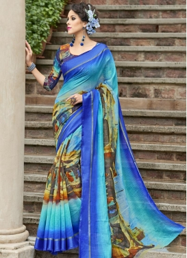 Blue and Turquoise Digital Print Work Trendy Saree