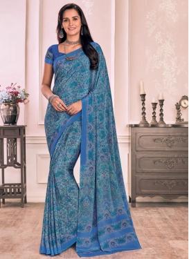 Blue and Turquoise Digital Print Work Trendy Saree