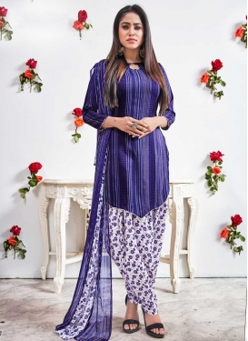 Blue and White Digital Print Work Designer Semi Patiala Salwar Suit