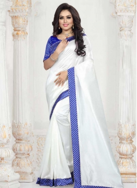 Blue and White Lace Work Designer Contemporary Style Saree