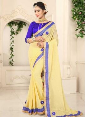 Blue and Yellow Faux Chiffon Designer Contemporary Saree