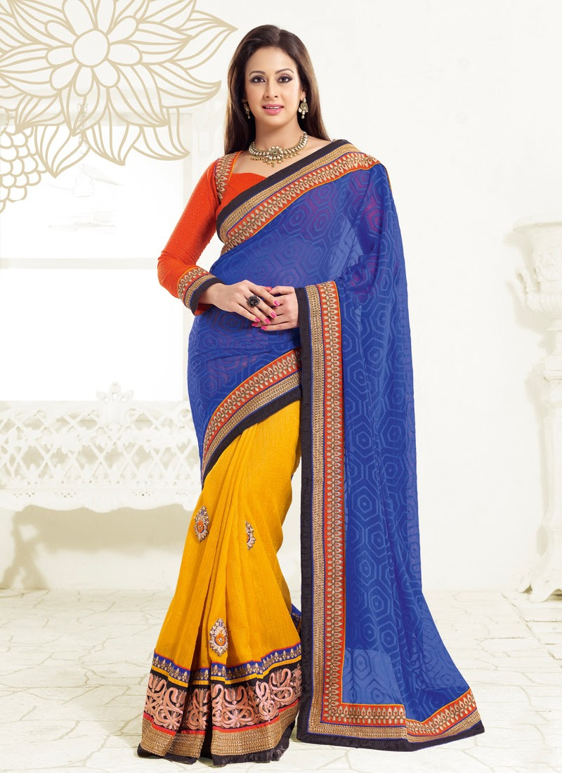 Blue And Yellow Preeti Jhangiani Half N Half Saree