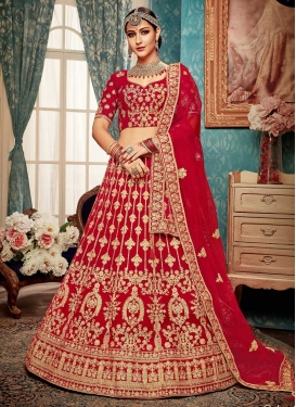 Booti Work A Line Lehenga Choli For Bridal