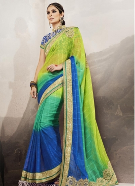 Booti Work Aloe Veera Green and Blue Fancy Fabric Designer Contemporary Style Saree For Festival