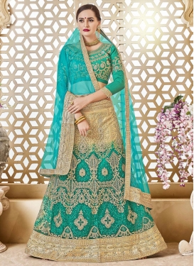 Booti Work Aqua Blue and Beige Net Trendy Lehenga