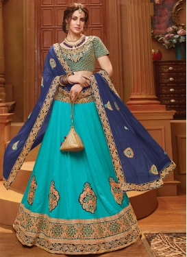 Booti Work Art Silk A Line Lehenga Choli
