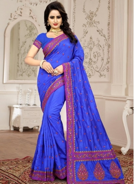 Booti Work  Art Silk Contemporary Style Saree