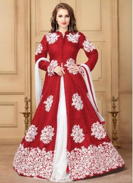 Booti Work Art Silk Designer Kameez Style Lehenga Choli