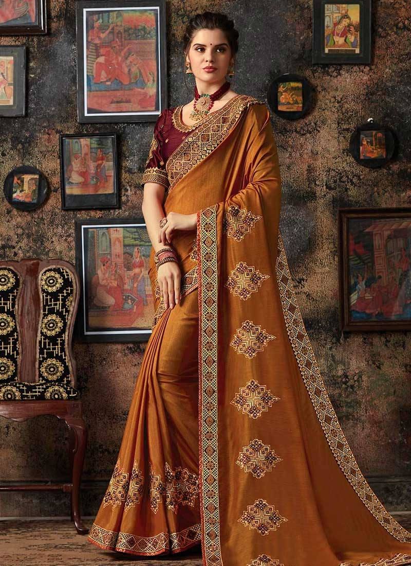 Booti Work Art Silk Designer Traditional Saree