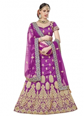 Booti Work Art Silk Trendy Lehenga Choli