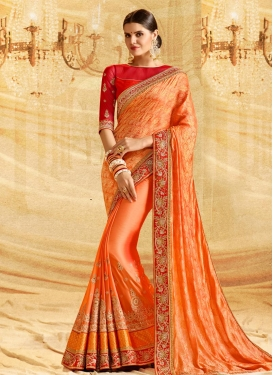 Booti Work Banarasi Silk Trendy Classic Saree For Ceremonial