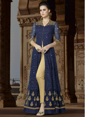 Booti Work Beige and Navy Blue Pant Style Designer Salwar Kameez
