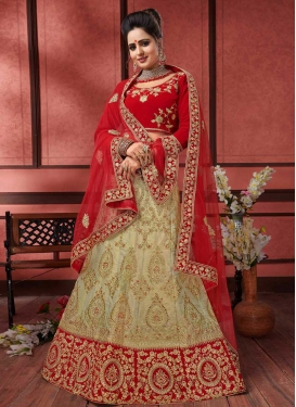Booti Work Beige and Red Silk Lehenga Choli