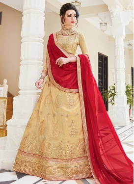 Booti Work Beige and Red Silk Trendy Lehenga