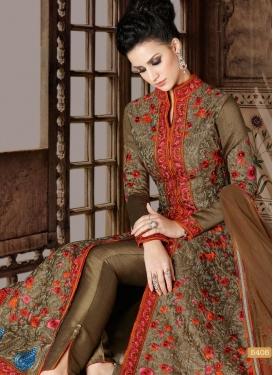 Booti Work Bhagalpuri Silk Pant Style Designer Salwar Kameez