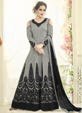 Booti Work Black and Grey Floor Length Anarkali Suit