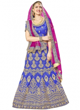 Booti Work Blue and Fuchsia Art Silk Trendy Lehenga