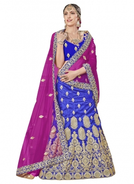 Booti Work Blue and Fuchsia Trendy Lehenga