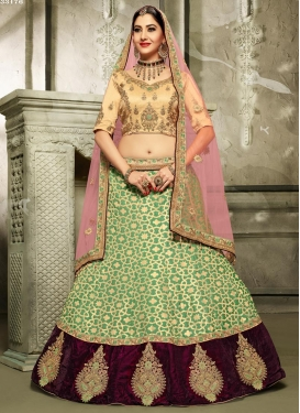 Booti Work Cream and Pink Brocade A Line Lehenga Choli