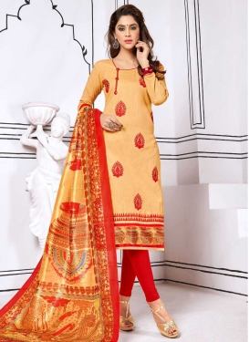 Booti Work Cream and Red Cotton Trendy Churidar Suit