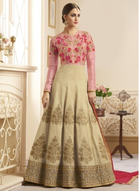 Booti Work Cream and Salmon Long Length Designer Anarkali Suit