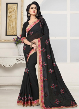 Booti Work Faux Georgette Classic Saree