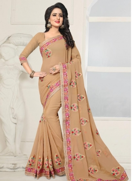 Booti Work Faux Georgette Contemporary Style Saree