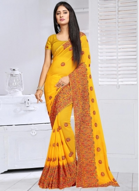 Booti Work Faux Georgette Contemporary Style Saree For Ceremonial