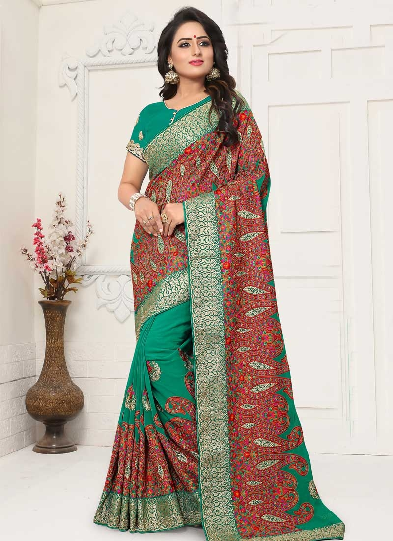 Booti Work Faux Georgette Designer Contemporary Style Saree