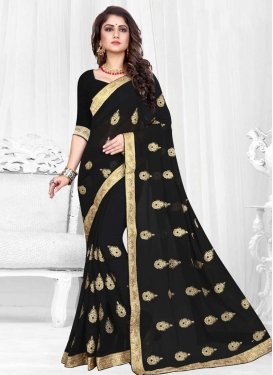 Booti Work Faux Georgette Designer Contemporary Style Saree For Ceremonial