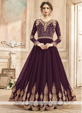 Booti Work Faux Georgette Floor Length Anarkali Salwar Suit