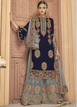 Booti Work Faux Georgette Grey and Navy Blue Palazzo Straight Salwar Kameez