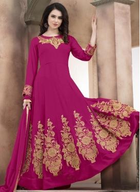 Booti Work Faux Georgette Long Length Anarkali Salwar Suit