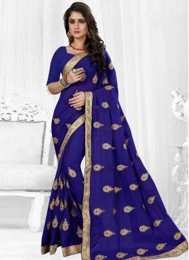 Booti Work Faux Georgette Traditional Designer Saree