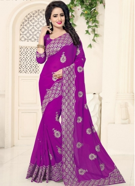 Booti Work Faux Georgette Trendy Classic Saree