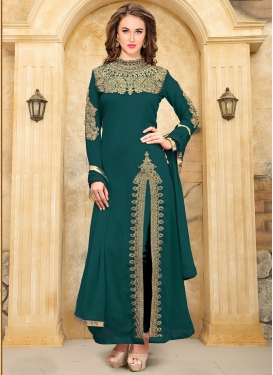 Booti Work Faux Georgette Trendy Designer Suit