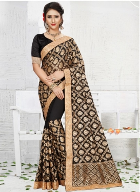 Booti Work Faux Georgette Trendy Saree