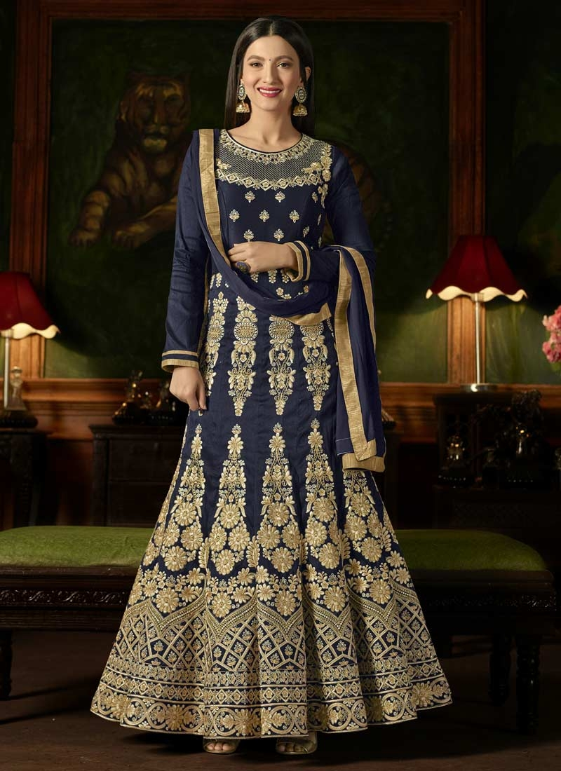 Booti Work Gauhar Khan Long Length Anarkali Salwar Suit