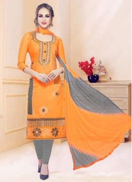 Booti Work Grey and Orange Trendy Churidar Salwar Kameez